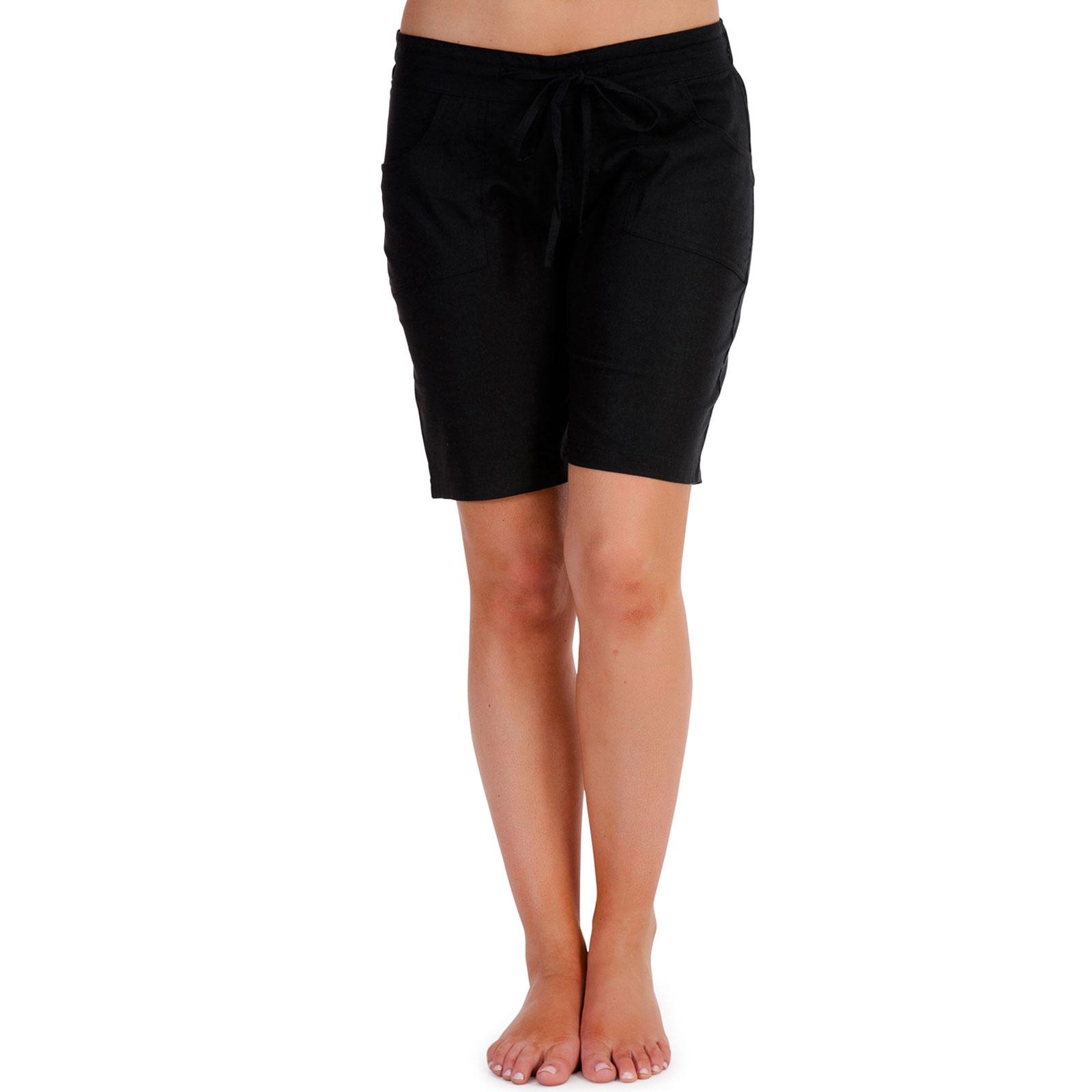 Ladies Soft Linen Shorts Knee Pull On Smart Summer Stone White ...