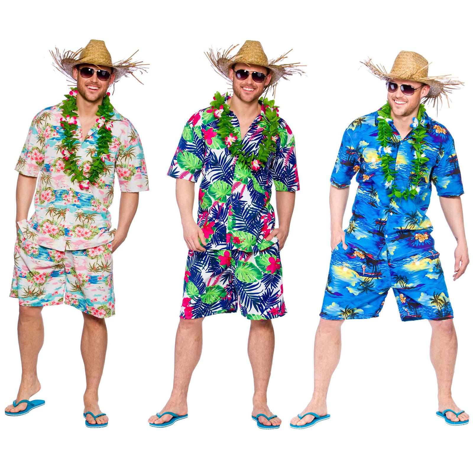 Mens Hawaiian Party Guy Luau Summer Beach BBQ Shirt U0026 Shorts Fancy Dress Costume