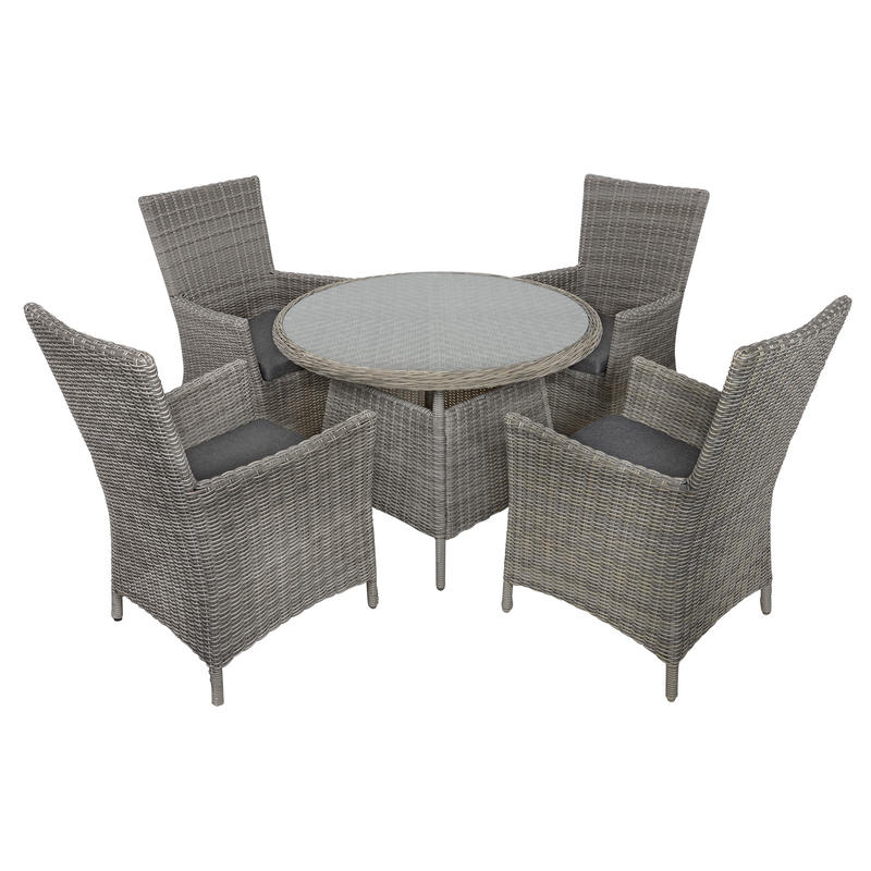 Belize Rattan Wicker 4 Seat Garden Furniture Table Chairs Dining Set
