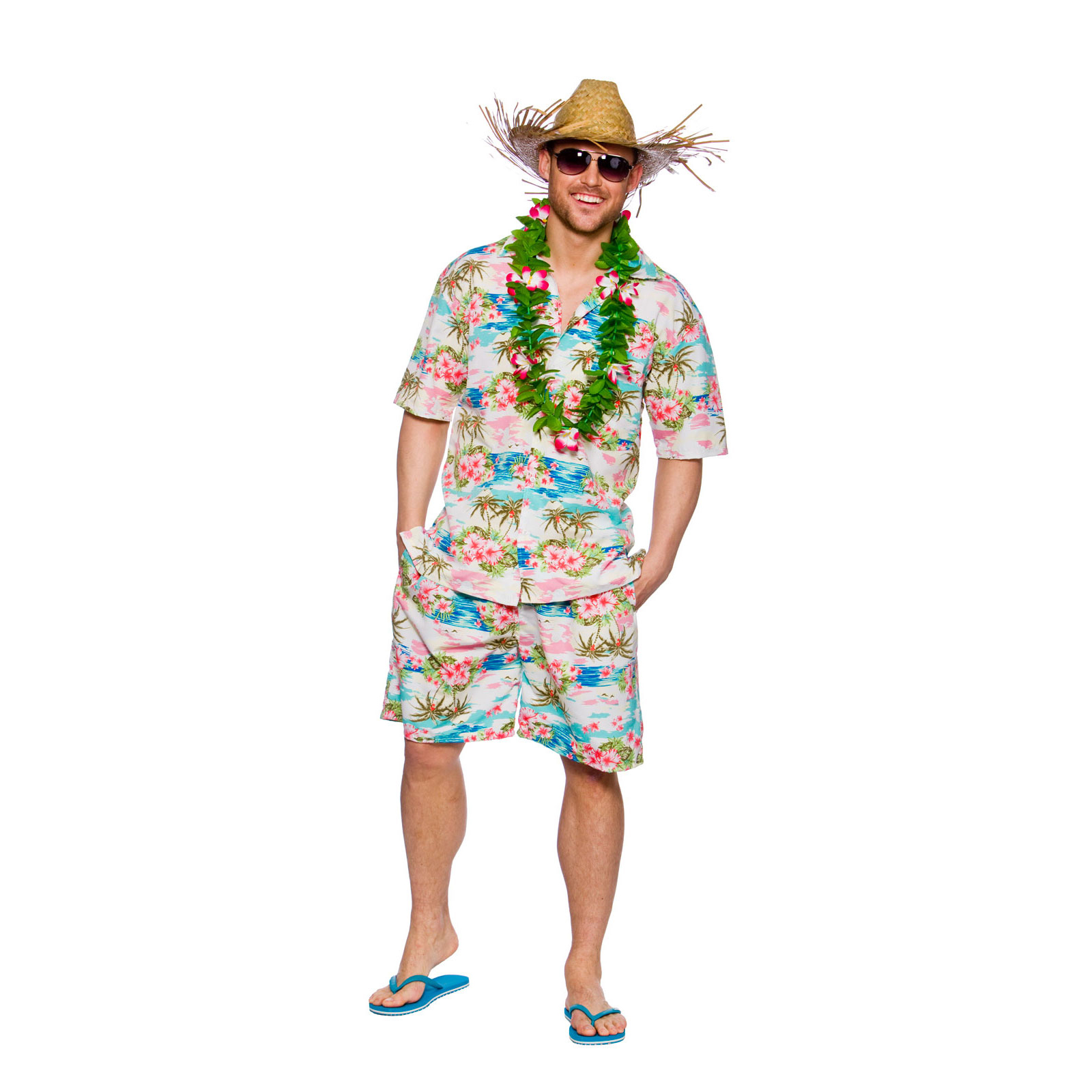 Adults Hawaiian Party Guy Fancy Dress Up Party Halloween Costume Outfit New | eBay