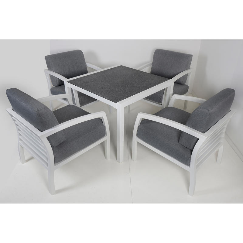 Cayman 4 seat aluminium garden furniture chair dining for 108 table seats how many