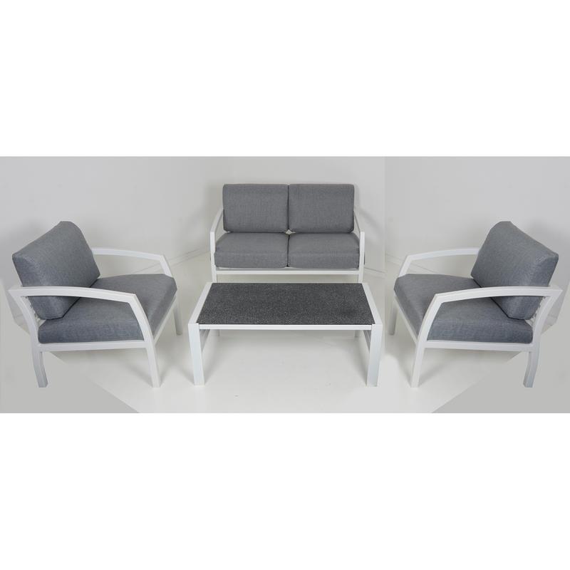 Cayman 4 seat aluminium garden furniture sofa coffee for 108 table seats how many