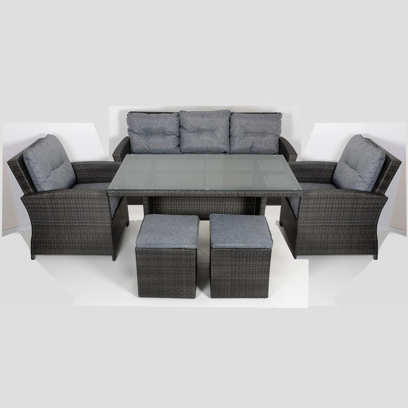 Jamaica rattan wicker 7 seat garden furniture table sofa set for 108 table seats how many