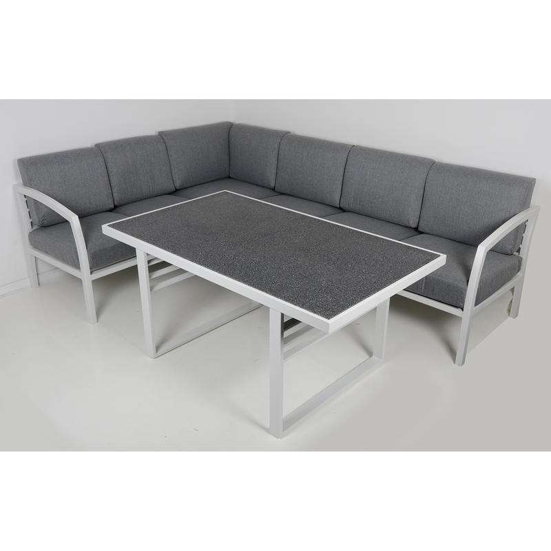 St lucia 6 seat aluminium garden furniture sofa dining for 108 table seats how many