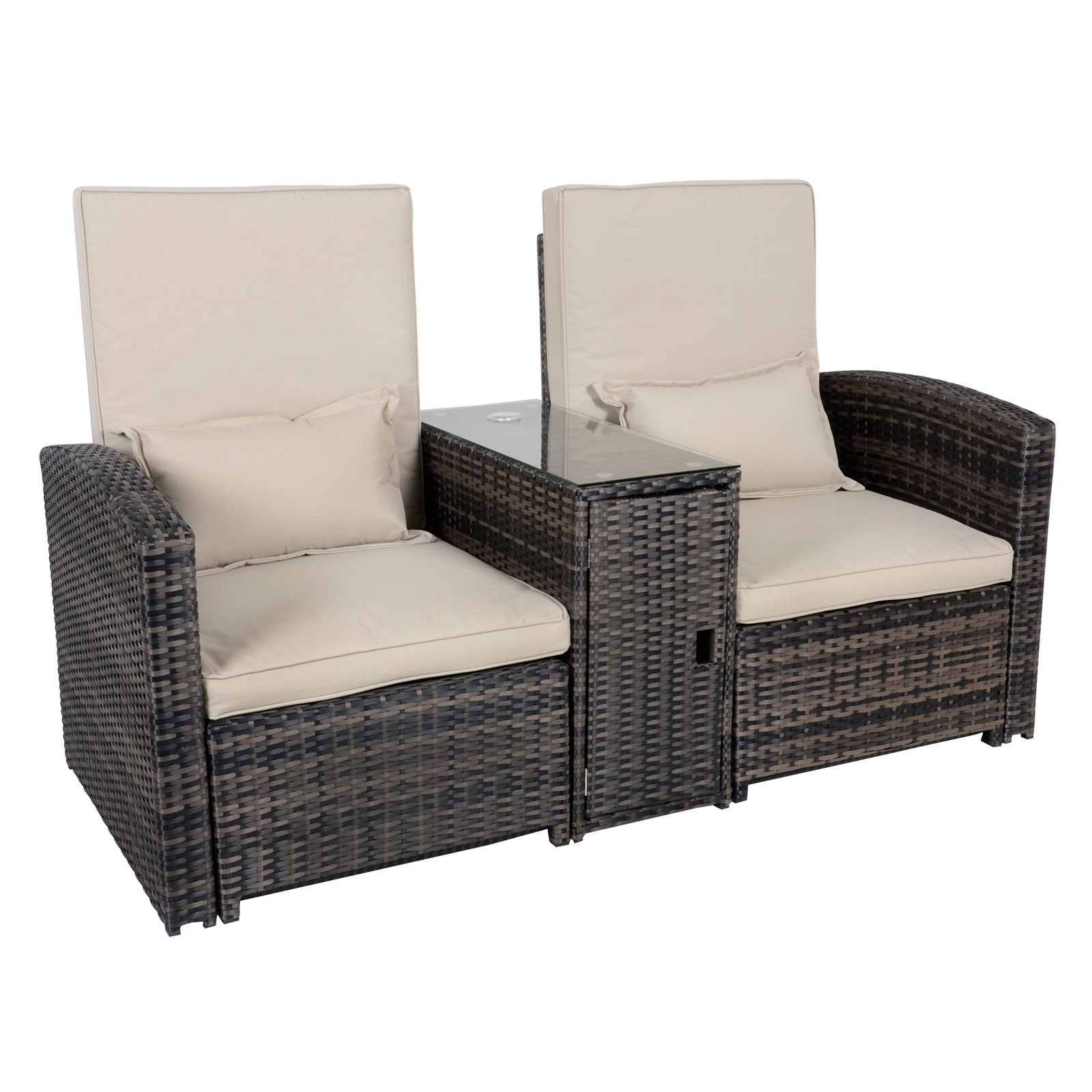 antigua rattan wicker reclining sun lounger companion chair garden furniture set ebay. Black Bedroom Furniture Sets. Home Design Ideas