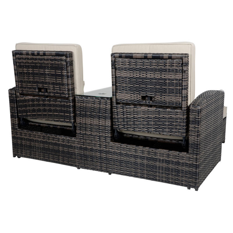 antigua rattan wicker reclining sun lounger companion set. Black Bedroom Furniture Sets. Home Design Ideas