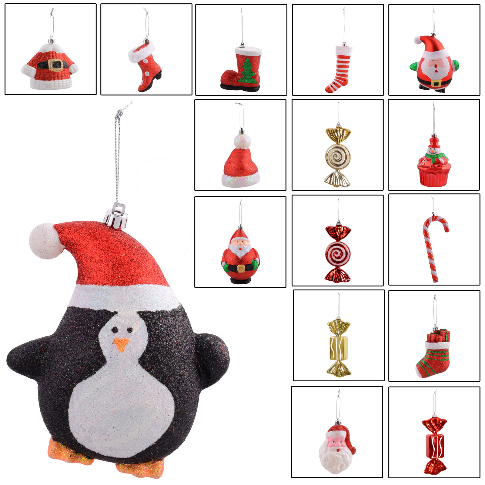 Range Of Hanging Christmas Festive Xmas Tree Decorations
