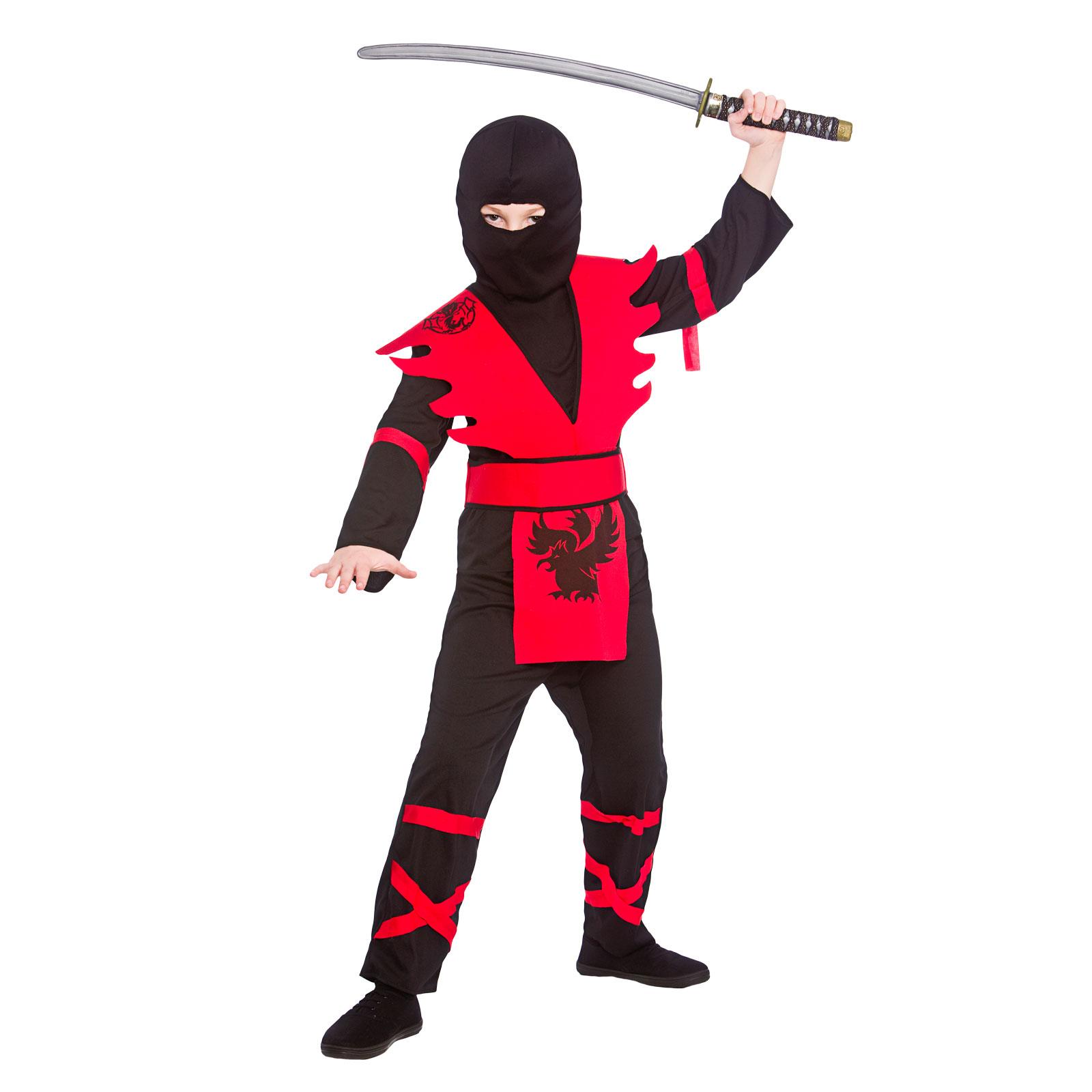 Boys Ninja Assassin Black Red Fancy Dress Up Party Costume ...