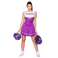 Ladies High School Cheerleader Purple Fancy Dress Halloween Costume