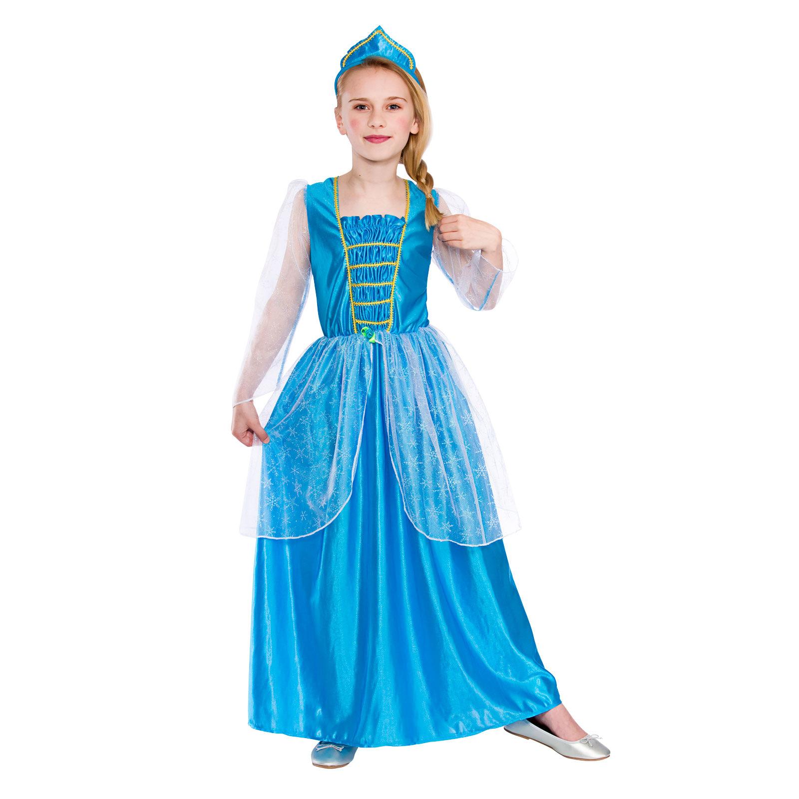 Halloween Girls Princess Fancy Dress Up Costume Outfits: Girls Ice Blue Princess Fancy Dress Up Party Costume