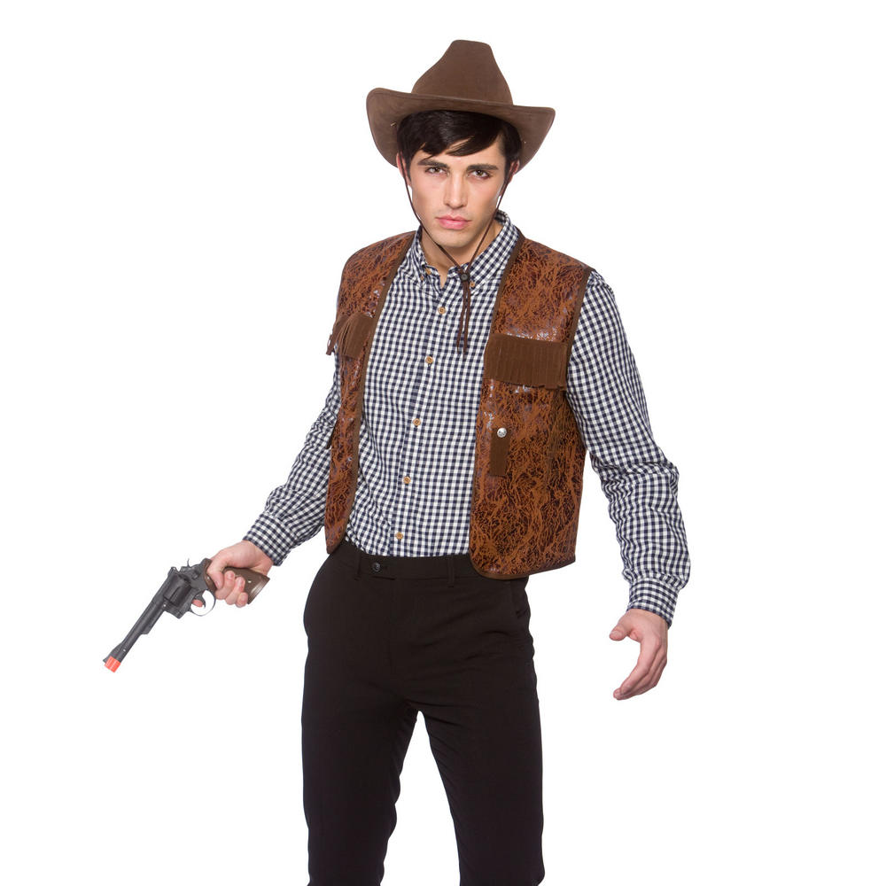 Adults Cowboy Waistcoat Fancy Dress Costume