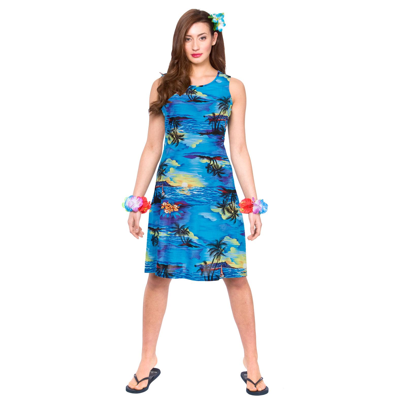 Ladies Blue Palm Dress Hawaiian Luau Fancy Dress Up BBQ Party Costume Outfit | eBay