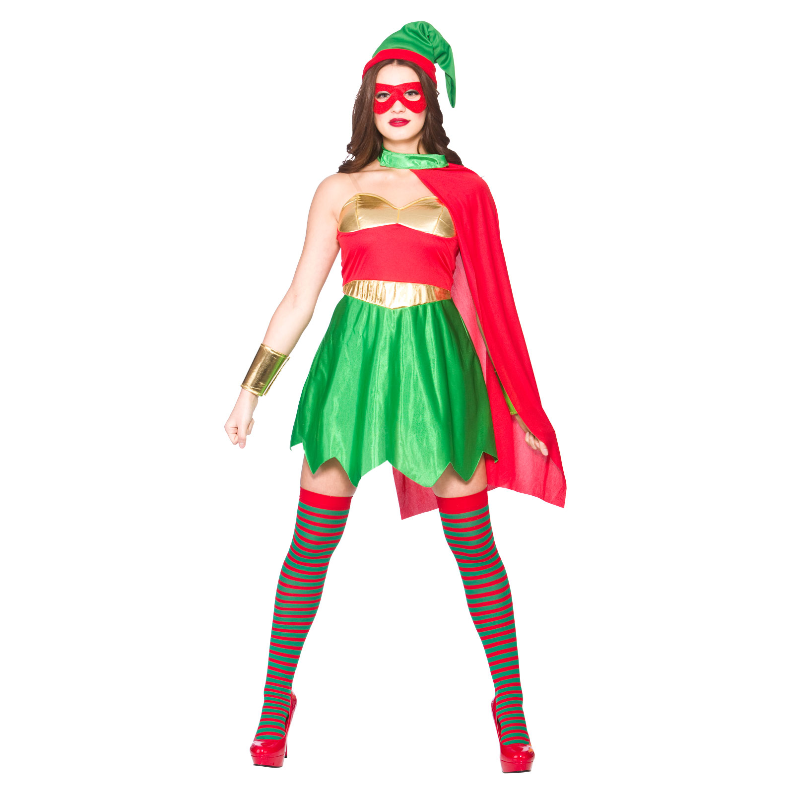 Christmas dress up - Ladies Super Hero Elf Fun Christmas Festive Fancy Dress Up Party Costume Outfit