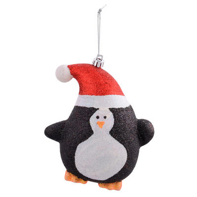 "Shaped Penguin In Santa Hat Covered With Glitter Hanging Christmas Tree Decoration 5""/13cm"