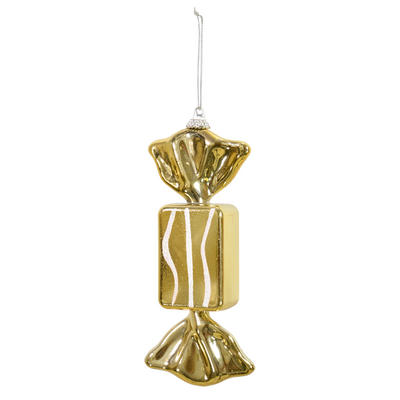 "Gold Wrapped Sweet Candy With Glitter Hanging Christmas Tree Decoration 6""/15cm"