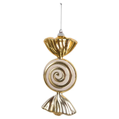 "Gold Wrapped Sweet Candy With Glitter Swirl Hanging Christmas Tree Decoration 6""/15cm"