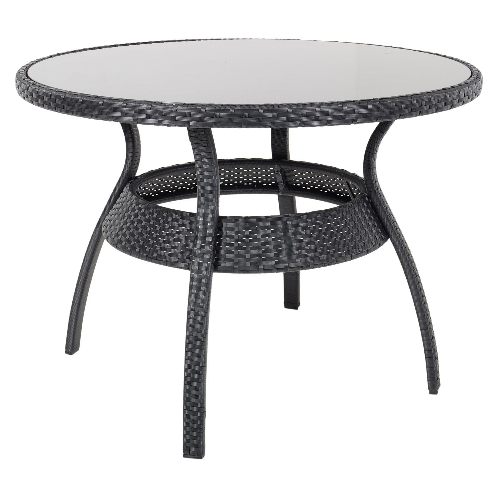 Ravenna Dining Table 4 Chairs Black Rattan Wicker