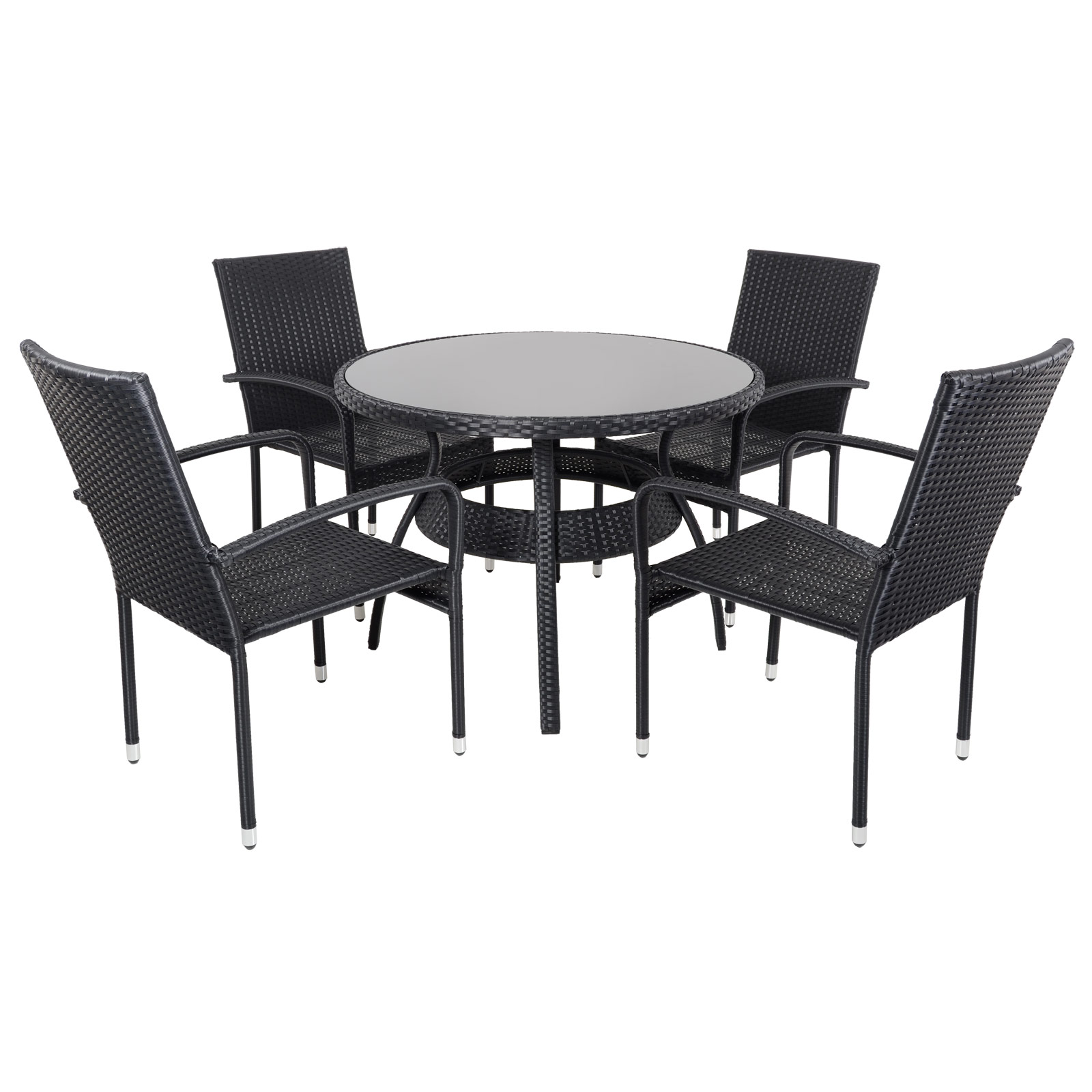Ravenna Dining Table 4 Chairs Black Rattan Wicker ...