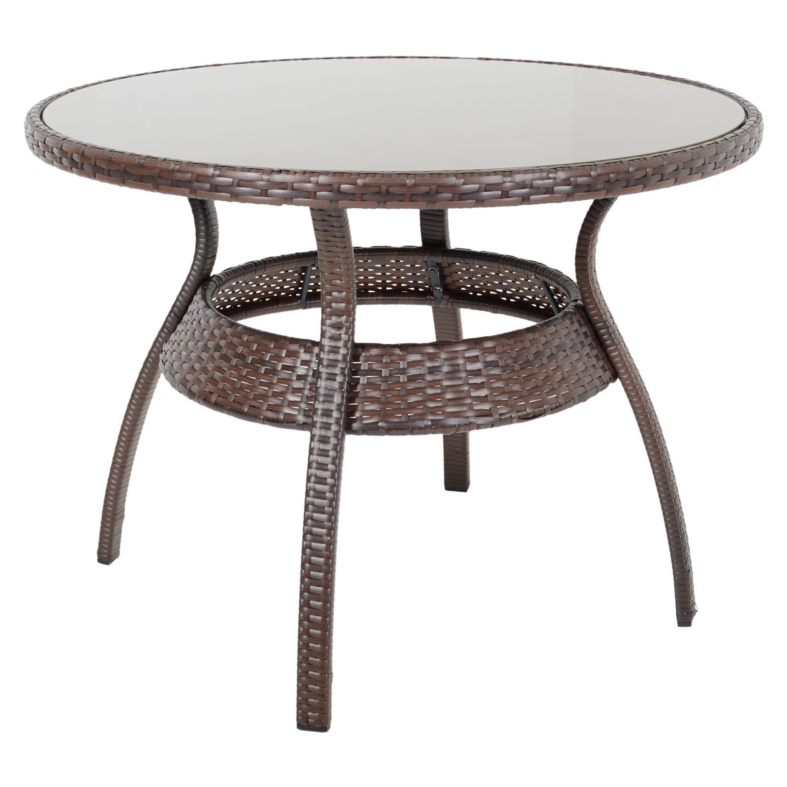 Ravenna dining table 4 chairs brown rattan wicker for Wicker patio table
