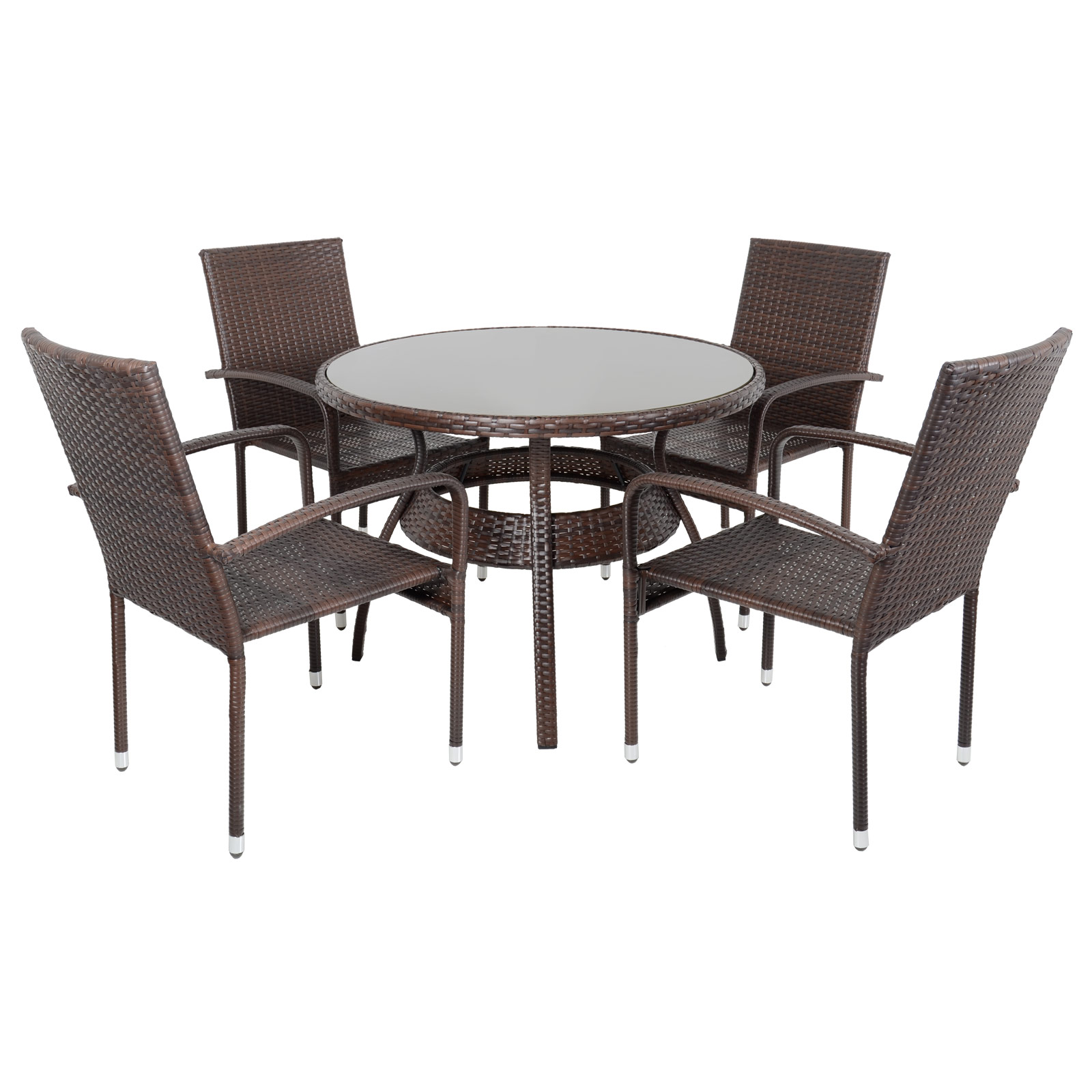 Rattan Dining Table And Chairs: Ravenna Dining Table 4 Chairs Brown Rattan Wicker