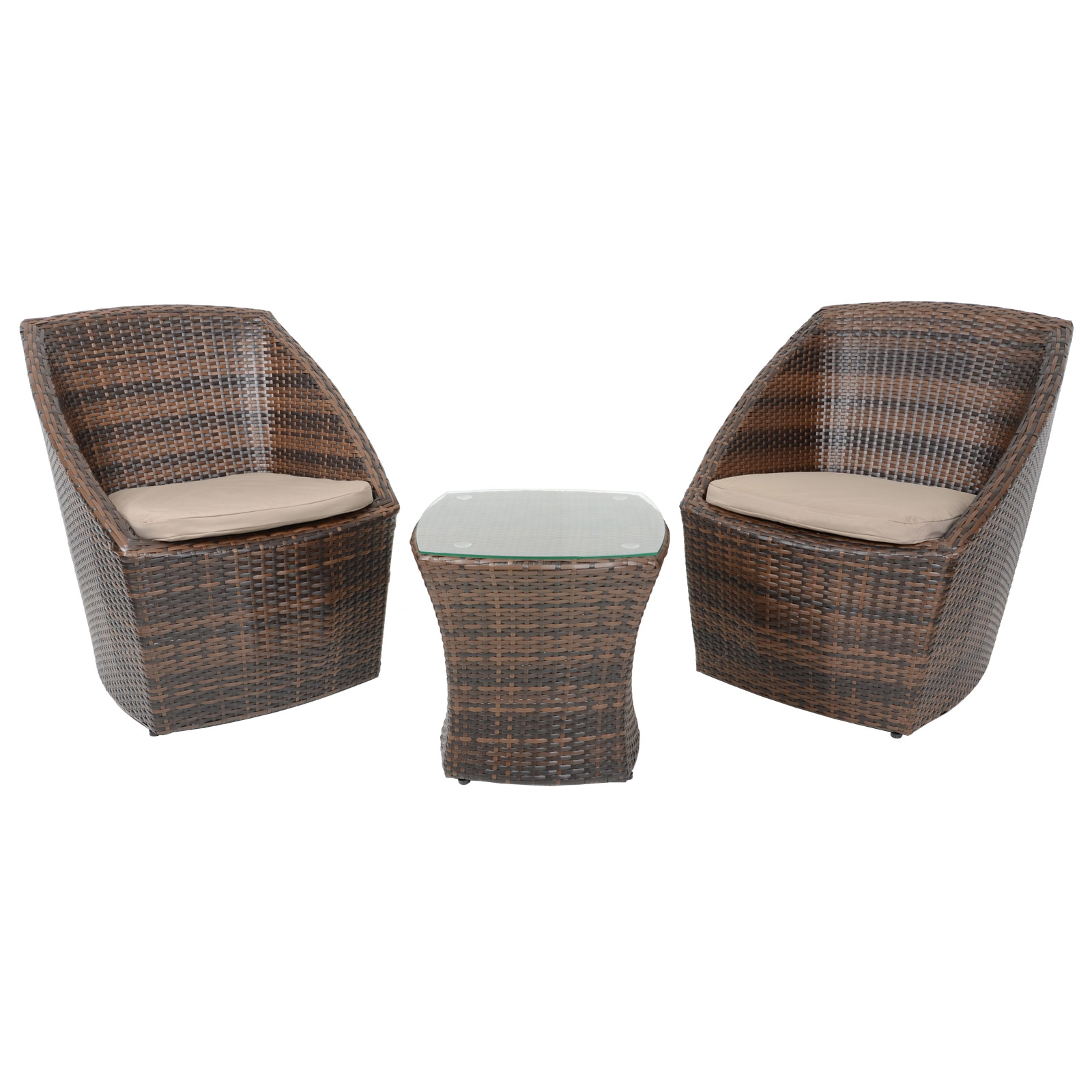 Taupe Wicker Coffee Table: Lazio Brown Bistro Set Coffee Table 2 Chairs Rattan Wicker