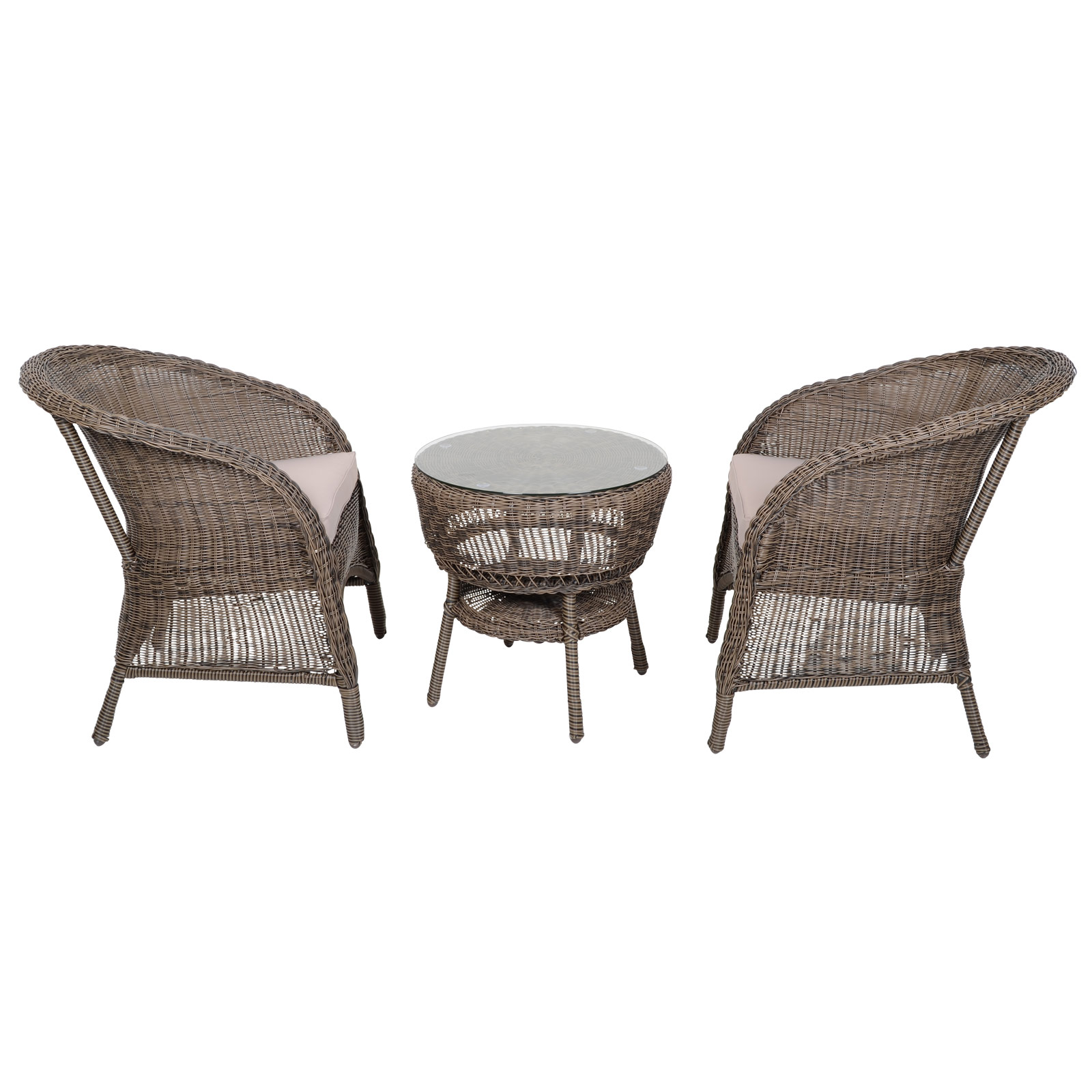 Taupe Wicker Coffee Table: Marseille 3 Piece Garden Dining Set With Table 2x Chairs