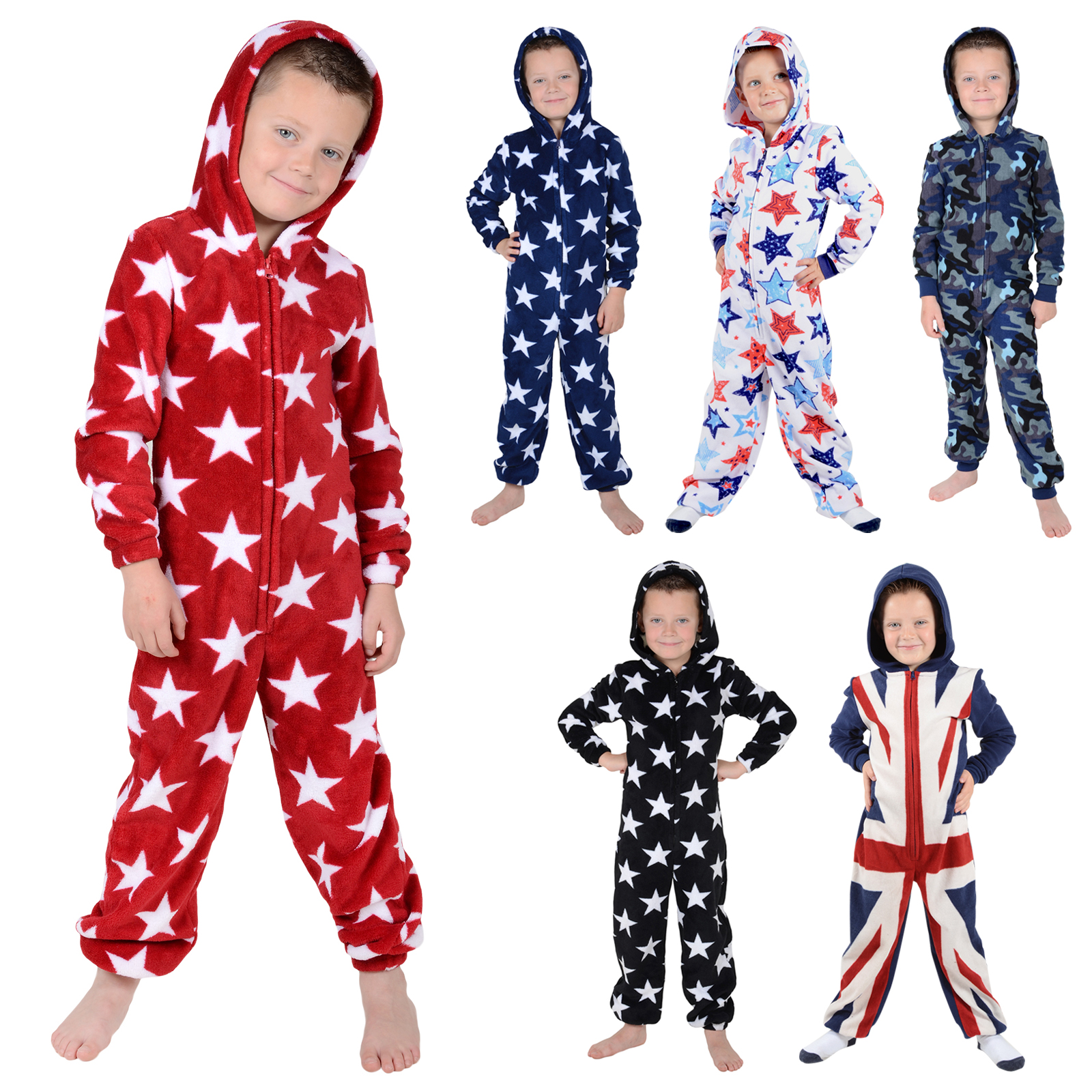 jungen fleece einteiler pyjama schlafanzug onesie pj nachtw sche ebay. Black Bedroom Furniture Sets. Home Design Ideas