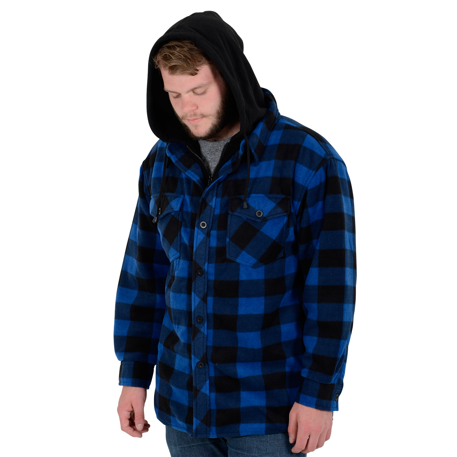 2 Of 8 Ies Portland Shirt Mens Fleece Padded Lumberjack Stud Work Jacket Sh5000