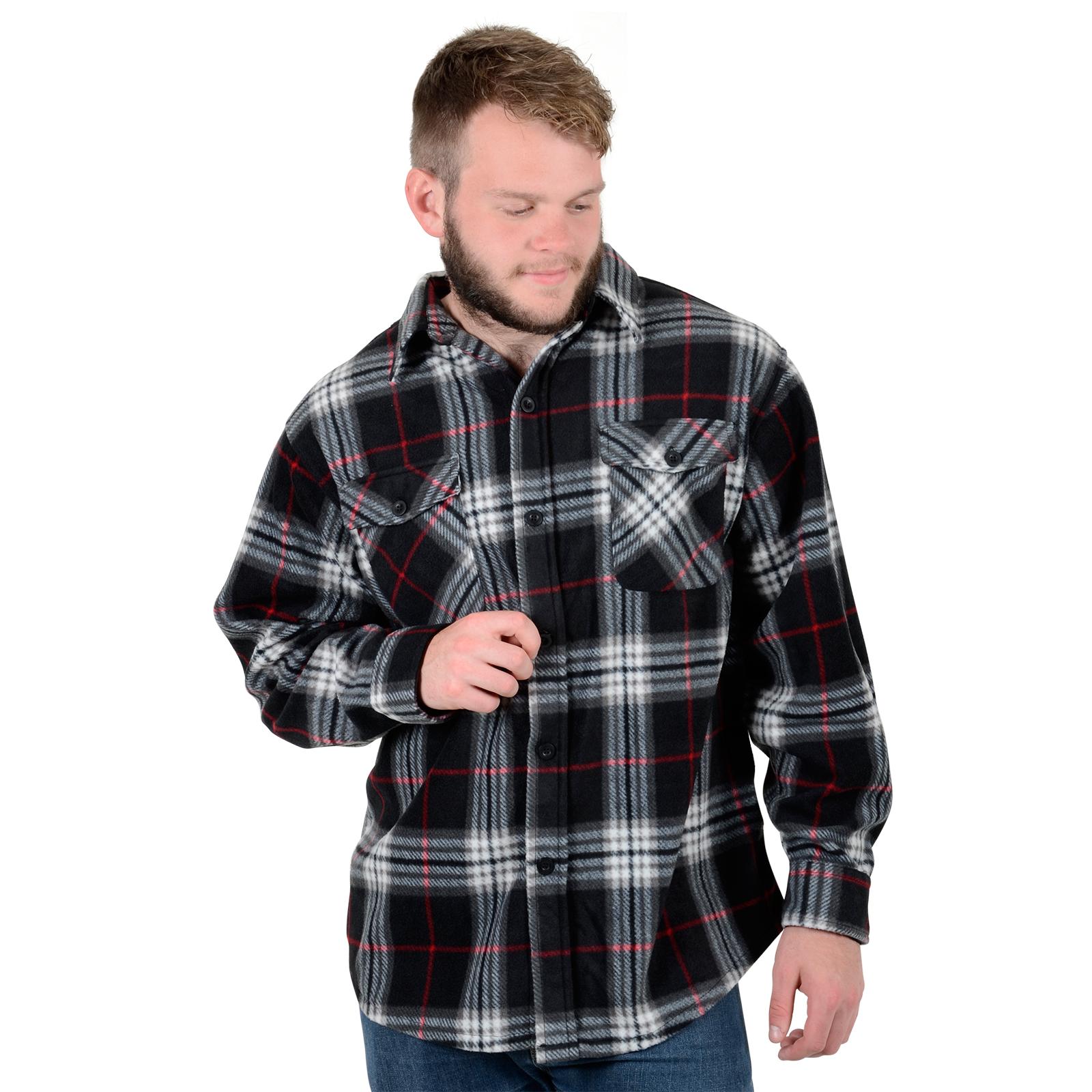 Mens colorado check soft fleece lumberjack warm winter for Mens warm flannel shirts