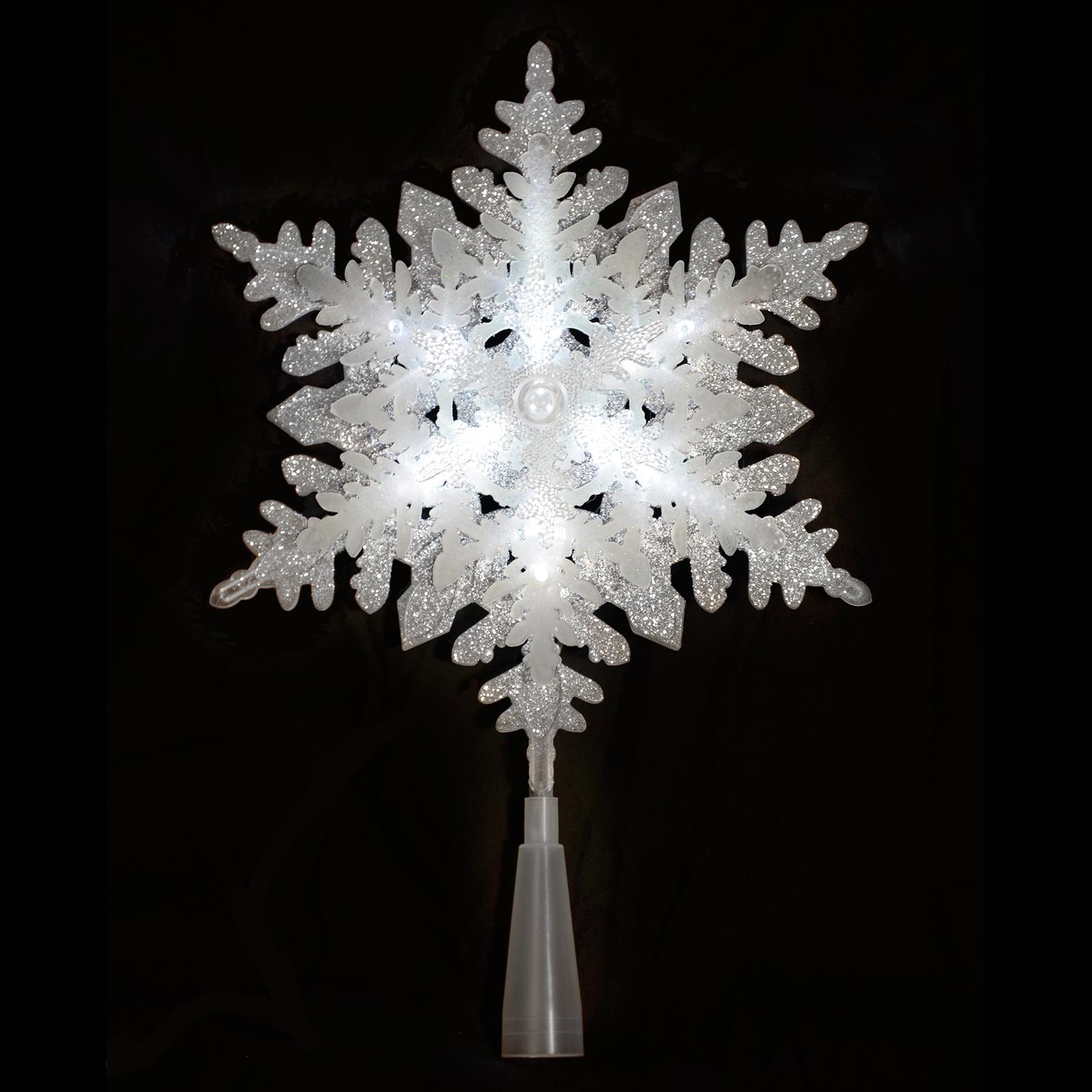 Light Up Silver Glitter Acrylic Snowflake Christmas Tree ...