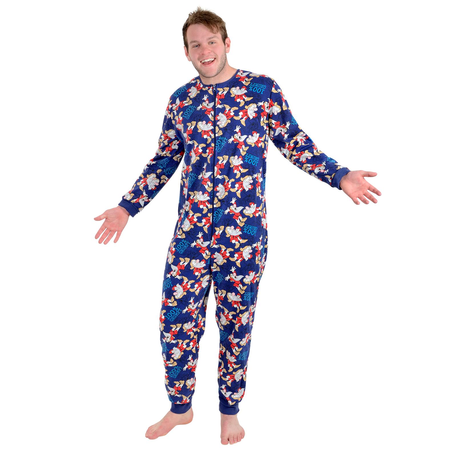 Disney Mens 100 Grumpy Dwarf Onesie Pyjamas Pjs All In