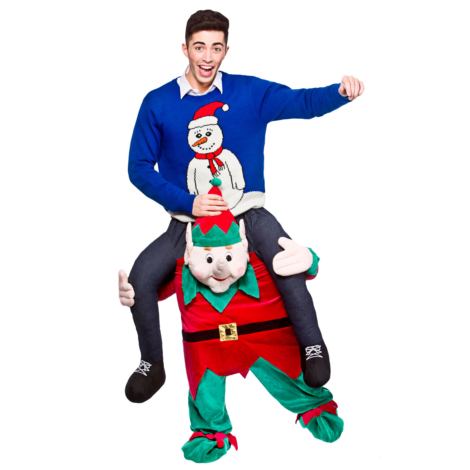 Christmas dress up - Adults Carry Me Elf Festive Christmas Fancy Dress Up Party Mascot Costume Outfit
