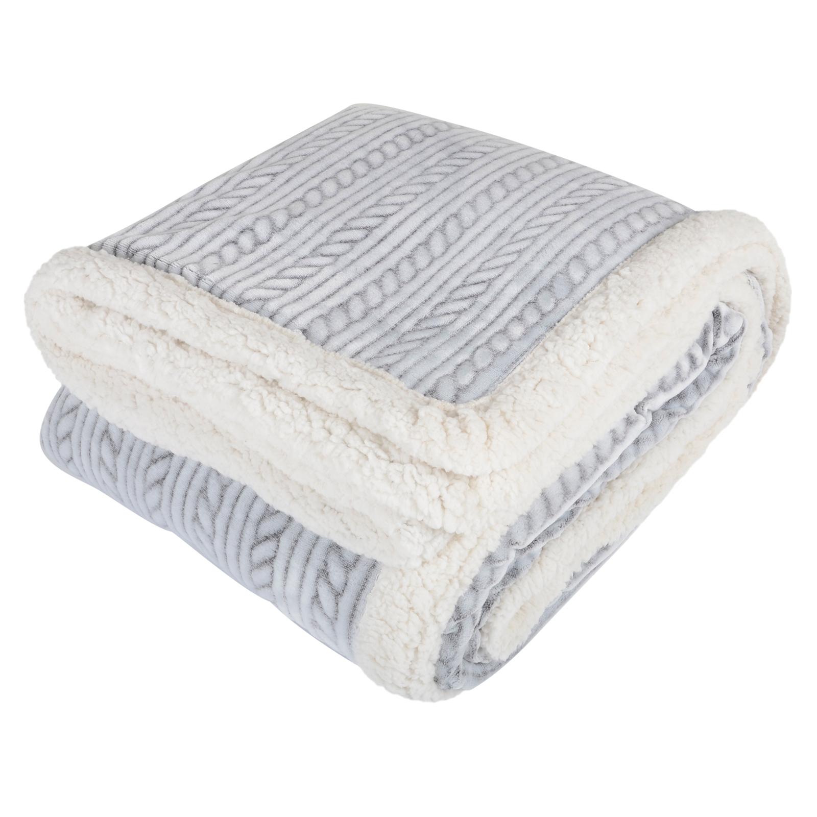 Grey Embossed Rope Design Luxury Fleece Blanket Sherpa