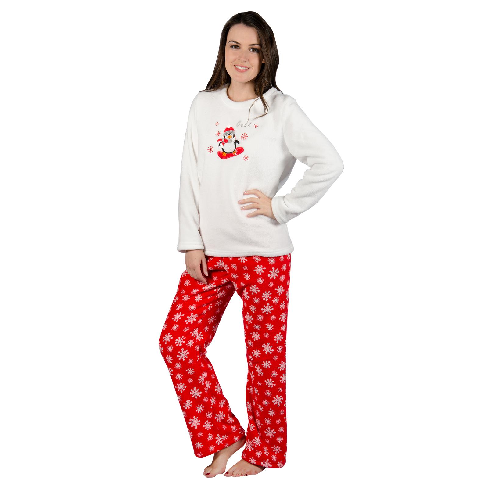 Ladies Chilly Penguin Fleece Pyjama Set PJs White Top ...