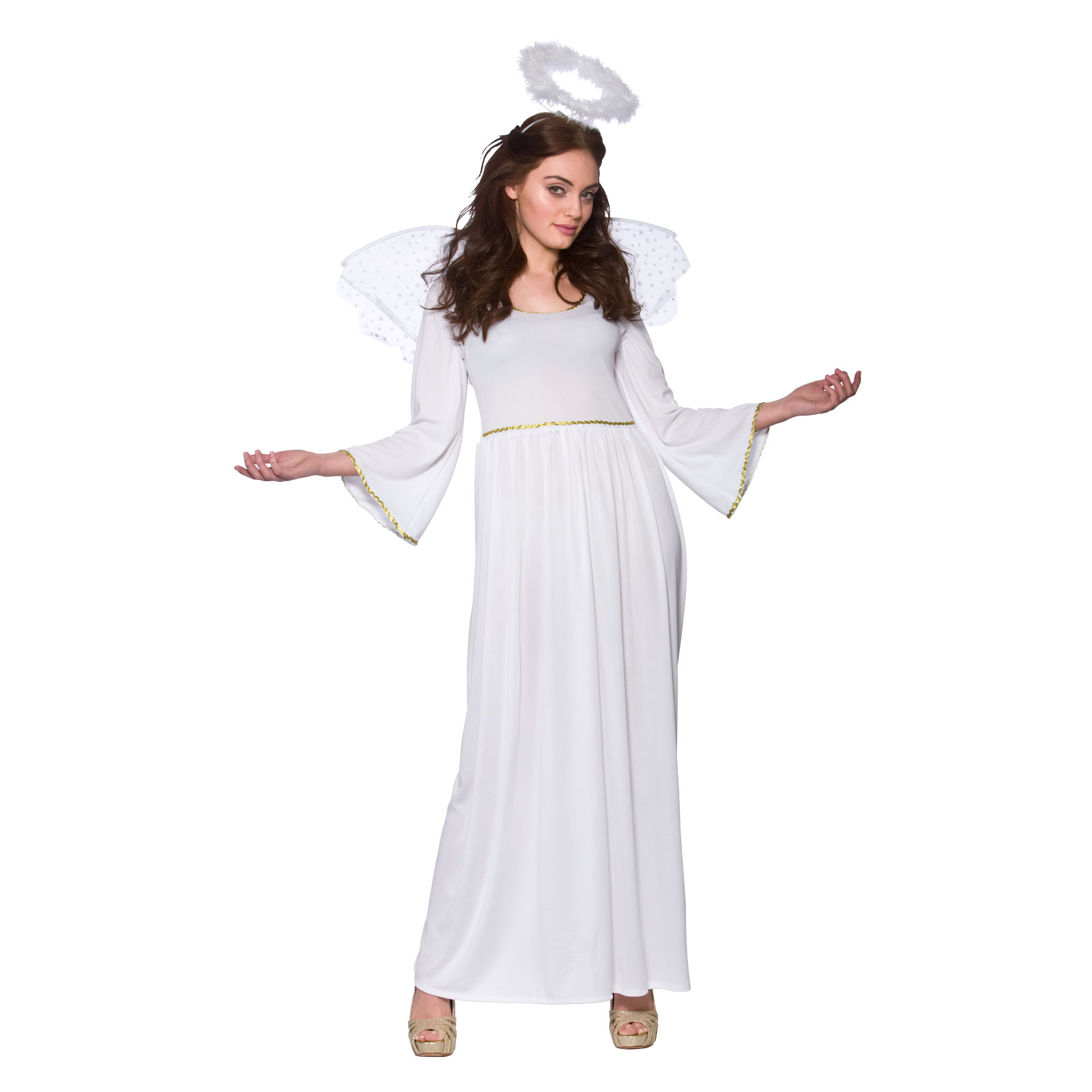 ladies white good angel christmas nativity fancy dress up party costume outfit ebay. Black Bedroom Furniture Sets. Home Design Ideas