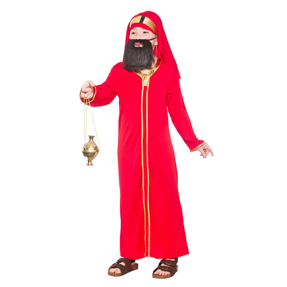 Kids red wise man balthazar fancy dress costume preview