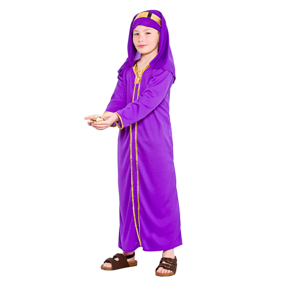 Childrens purple wise man melchior fancy dress costume preview