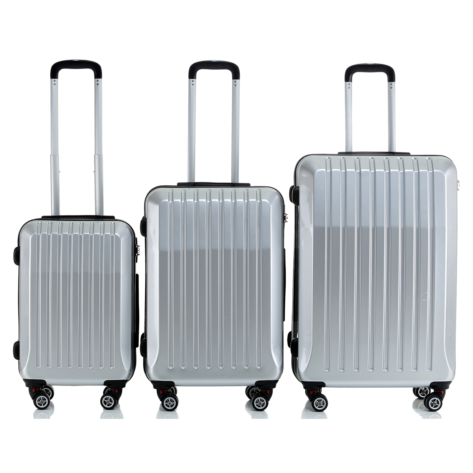 Set Of 3 Hard Shell ABS Trolley Cases 4 Wheels Suitcase Luggage ...