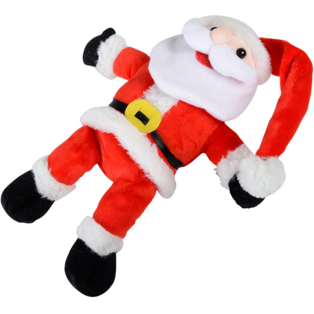 Animated plush hysterical laughter rolling santa christmas for Animated santa claus decoration