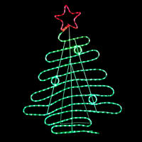 120cm Red & Green LED Rope Light Christmas Tree Outdoor Decoration