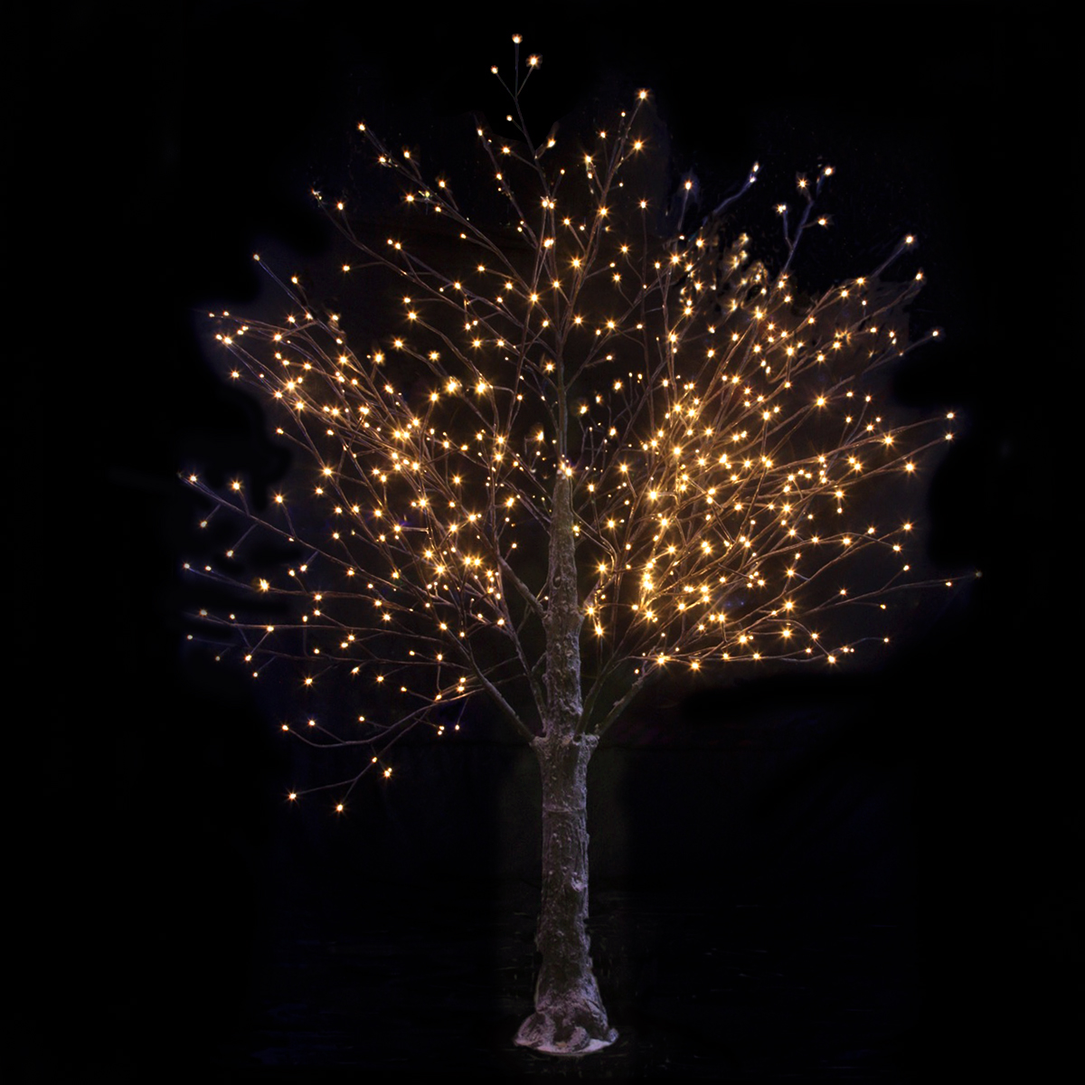 Brown snowy twig tree warm white led lights christmas for White xmas lights