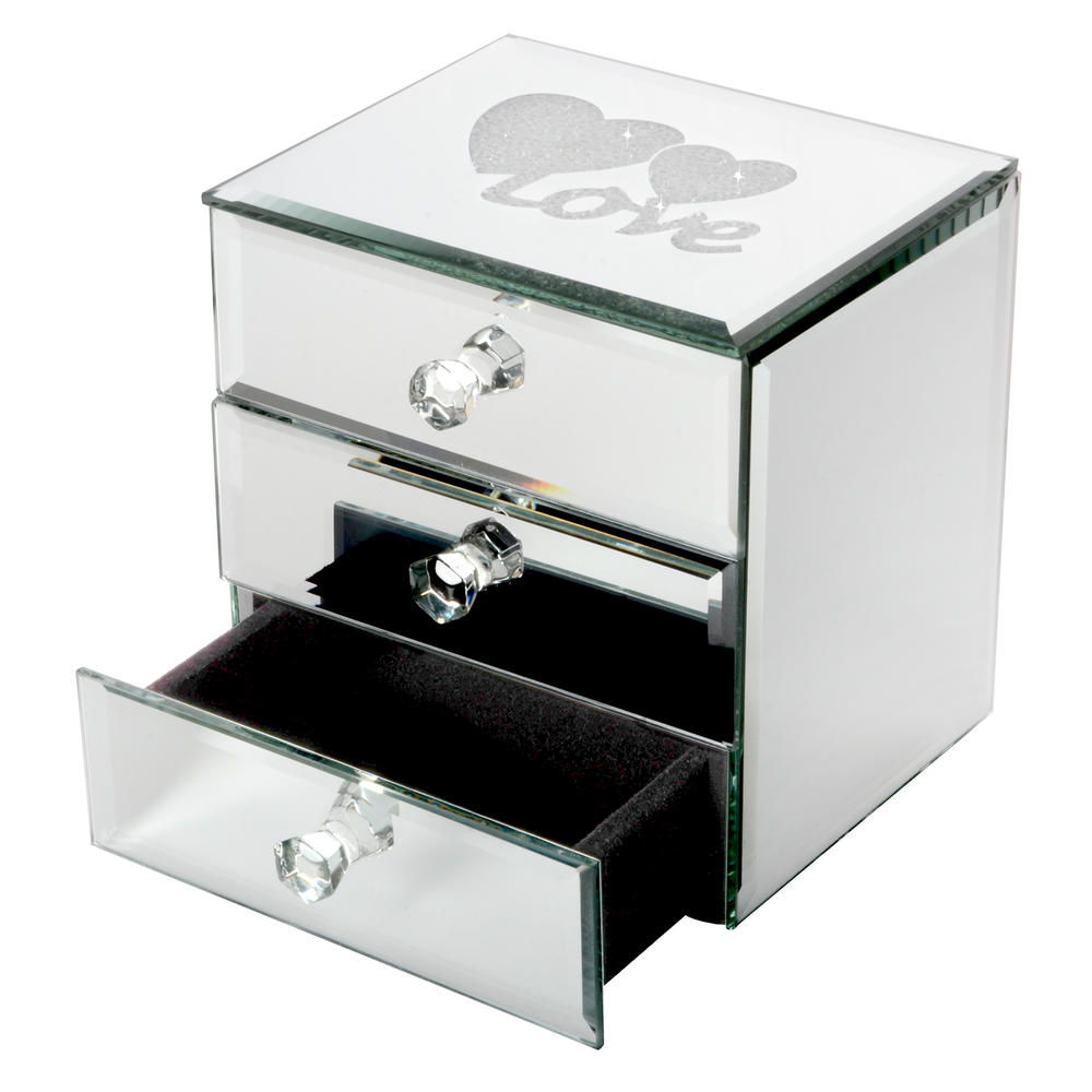 Mirrored Jewelry Box Ireland Drawer Glass Jewellery Diamante Love Design