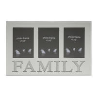 Silver Diamante FAMILY Glass Mirror Photo Multi Picture Frame Fits 4 x 6""