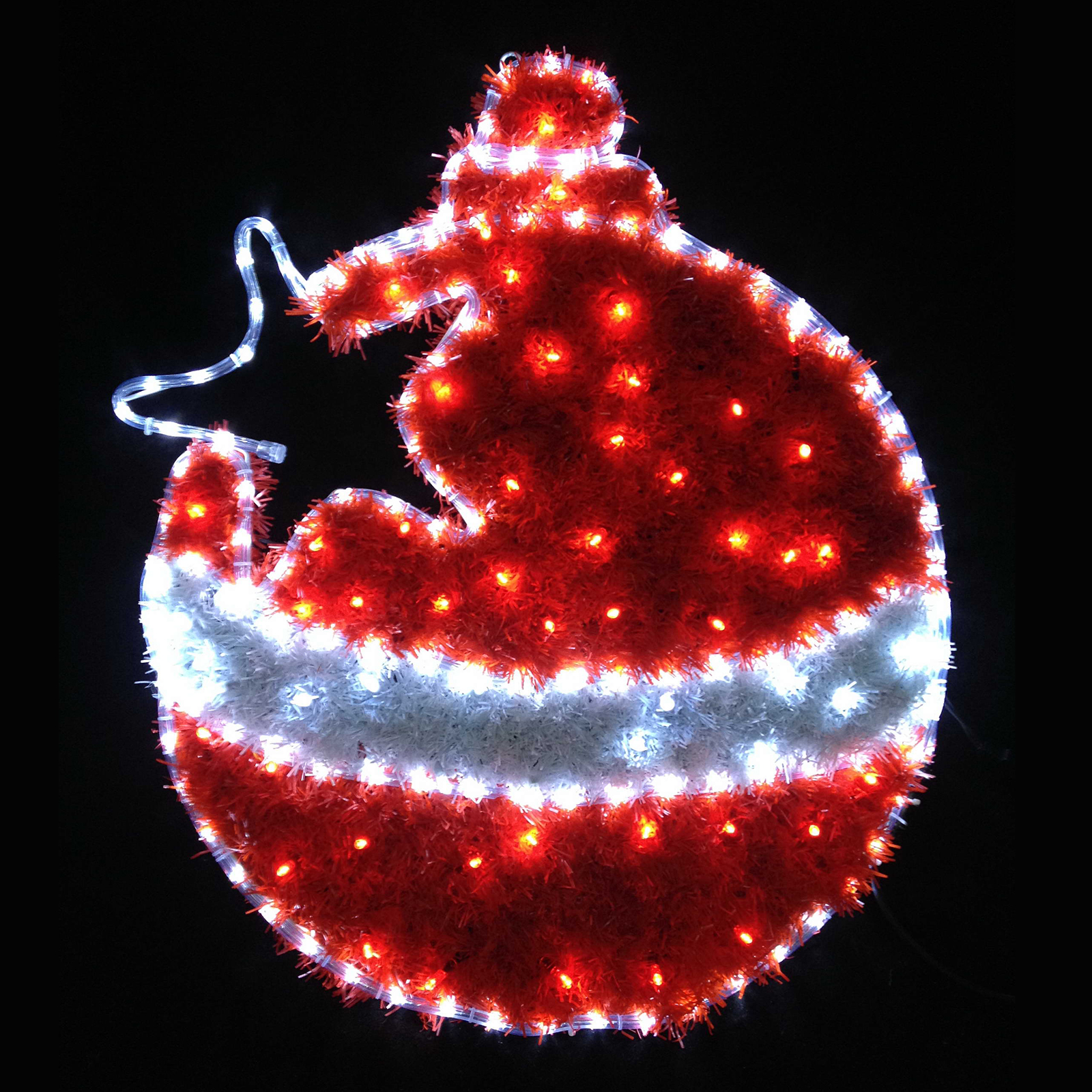 Red white led tinsel christmas bauble flashing indoor for Outdoor christmas baubles