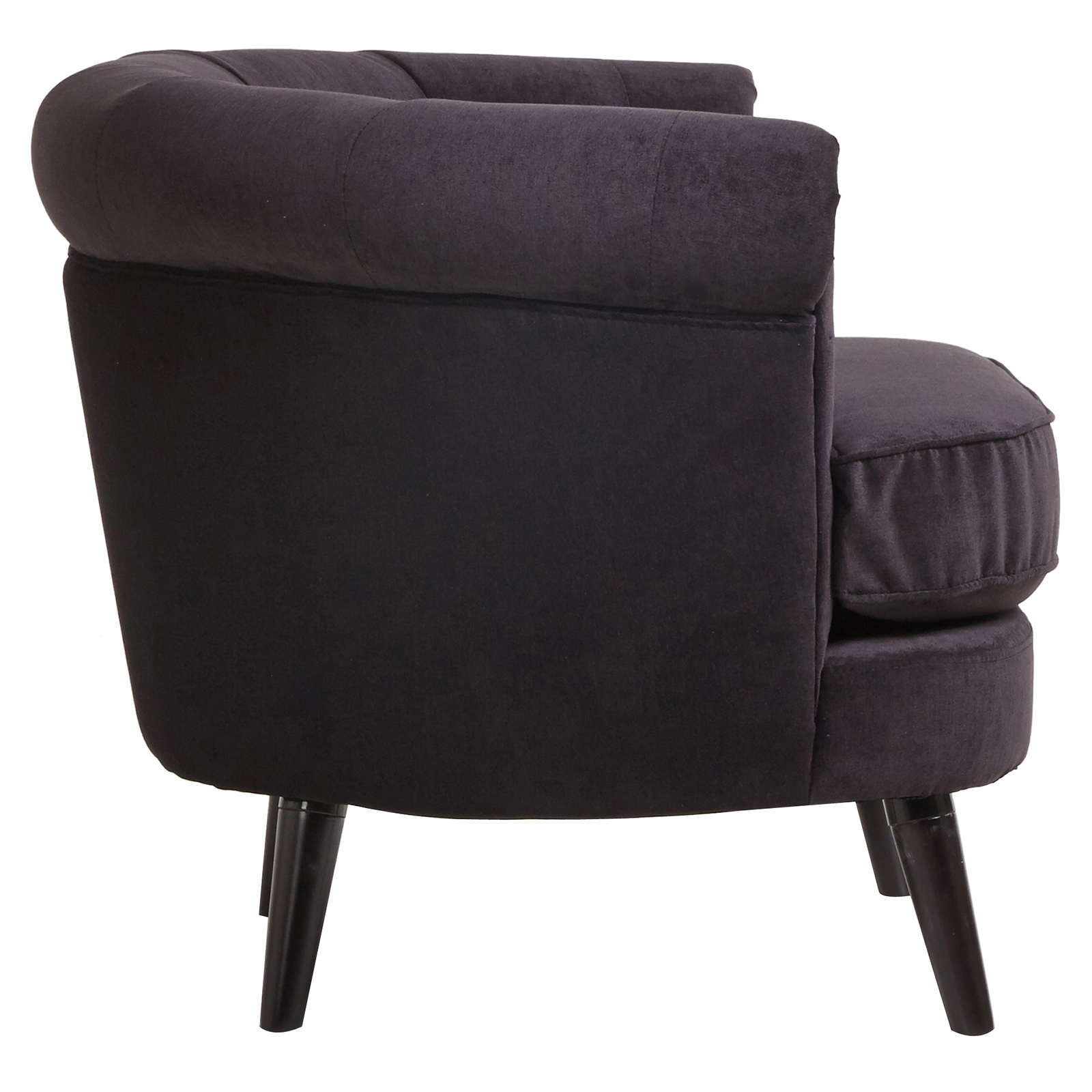 Black armchair 39olivia39 design wooden frame fabric for Sofa arm covers wood