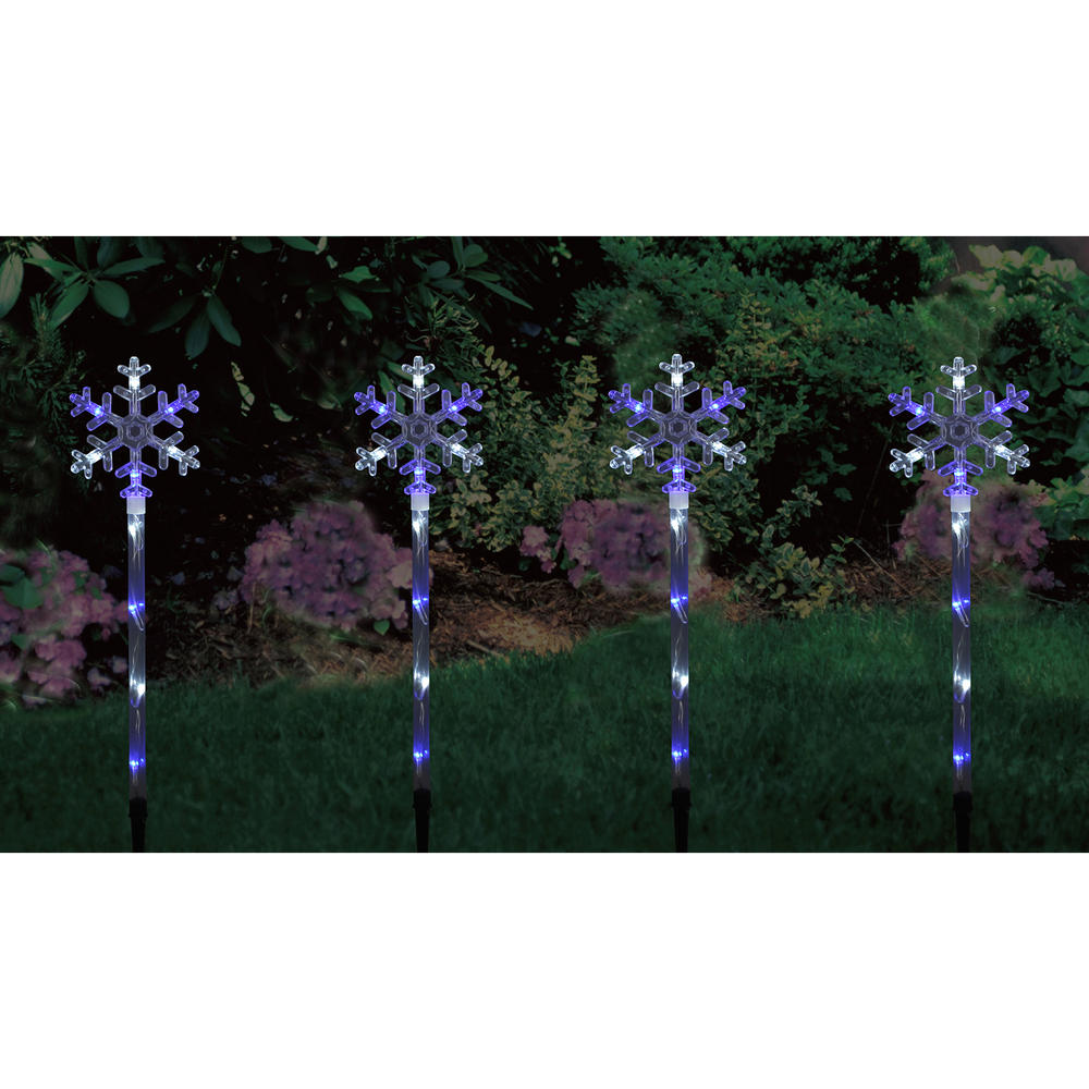 Set of 4 blue white led snowflake garden pathway lights for Outdoor pathway lighting sets