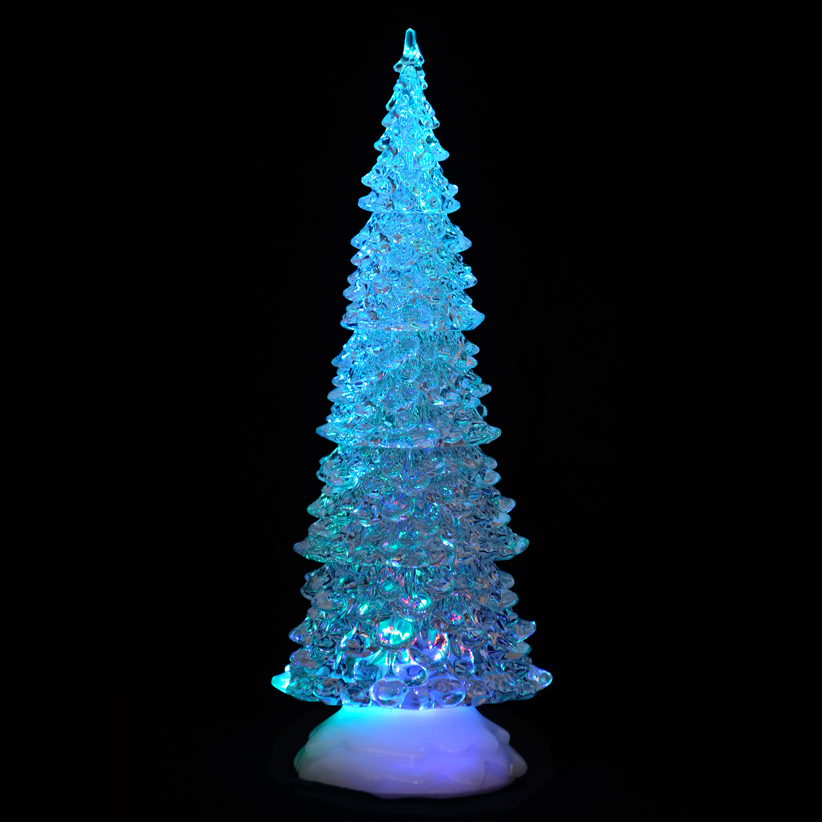 Battery operated colour changing led acrylic tall tree for Led christmas decorations