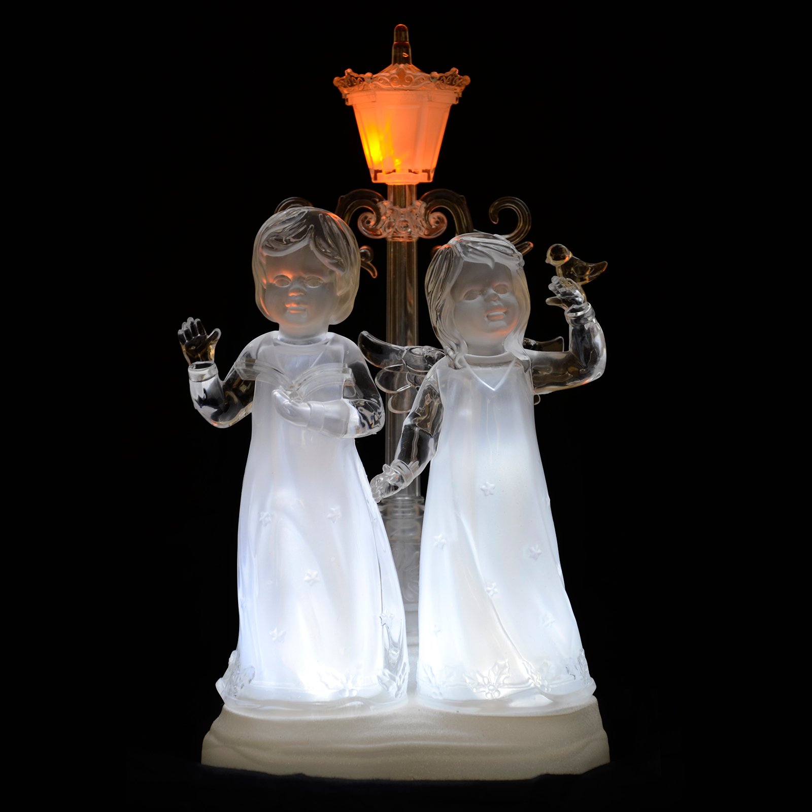 Light up led acrylic carol choir singer angel ornament for Angel christmas decoration