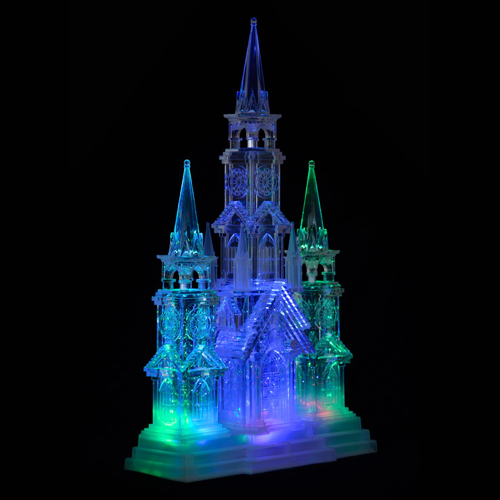 44cm Church Chapel Colour Changing Led Light Glitter Water