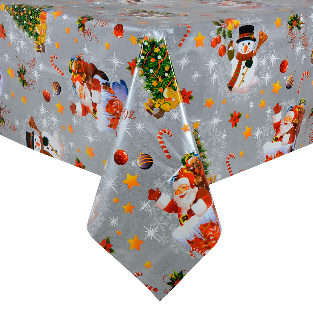 Silver Christmas PVC Wipe Clean Tablecloth Table Cover